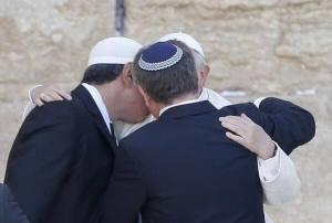 JEWISH RABBI & MUSLIM AT THE WAILING WALL